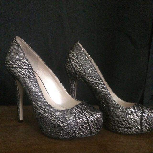 Betts Silver And Black Heels