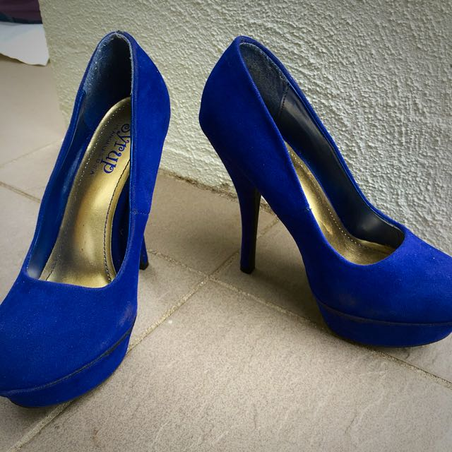 Blue Suede High Heels Size 36 6.5 7
