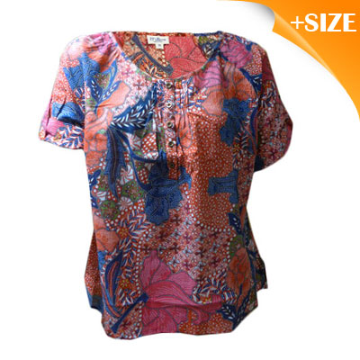 New Ladies Cotton Plus Size Shirt / Top Size 14 from Millers Orange & Pink Print RRP $29.95