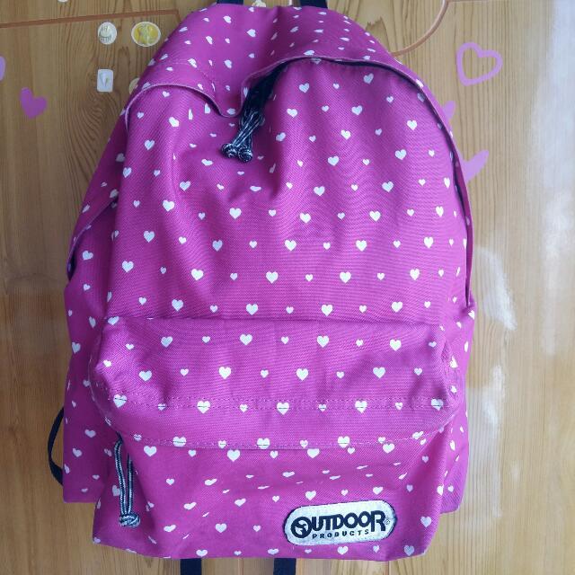 Outdoor粉色愛心點點後背包