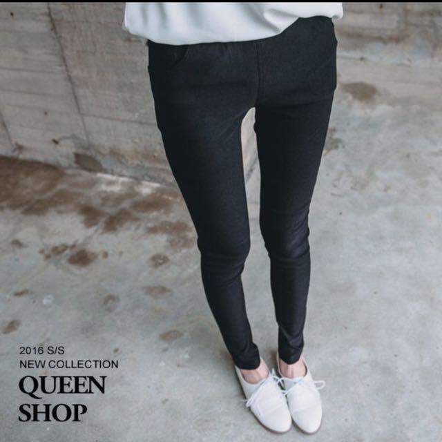 Queen Shop   素面多色合身鬆緊鉛筆褲  黑色  L  (全新)