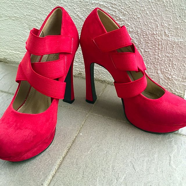 Red Suede High Heels Size 36 6.5 7