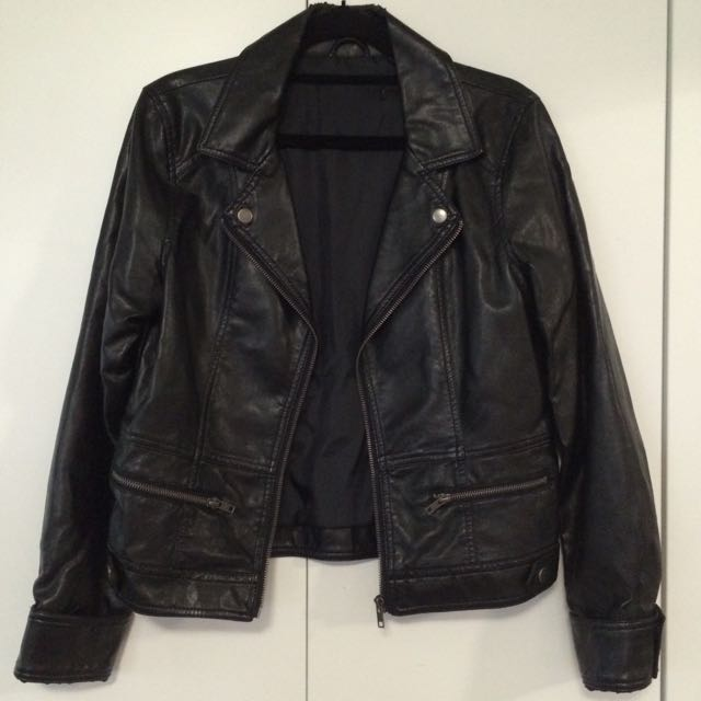 Small Black Faux Leather Jacket