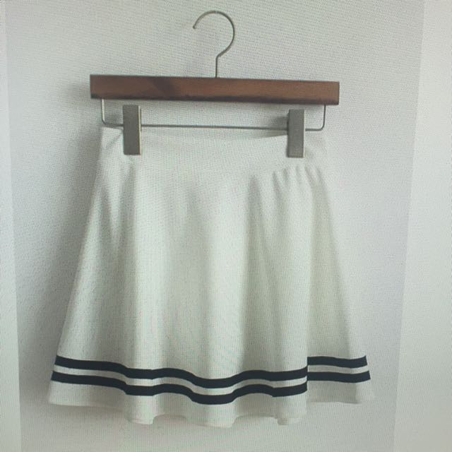 897d378889 Stripe Flare A Line Sailor Skirt, Women's Fashion on Carousell