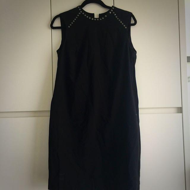 Studded Black Work Dress