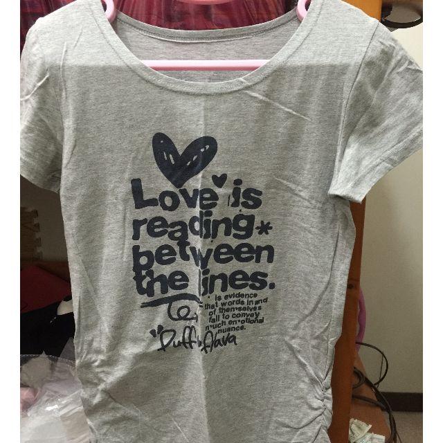 「全新」簡約英文字灰色T恤