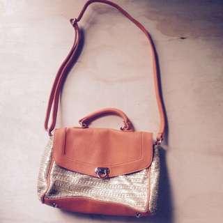 Orange & Gold Satchel Bag