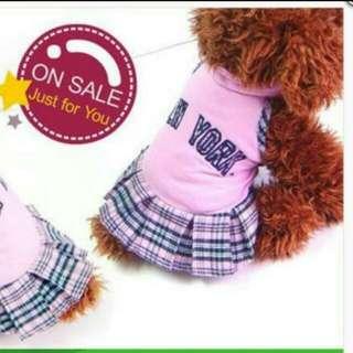 貴賓狗狗小型犬粉紅色啦啦隊短裙裝 狗衣
