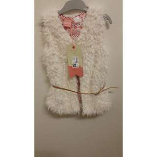 Size 3 New Piping Hot Girls Fur Vest with belt