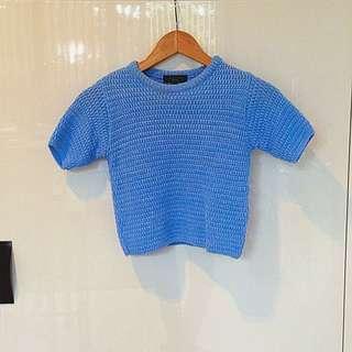 Baby Blue Midriff Knit Tee
