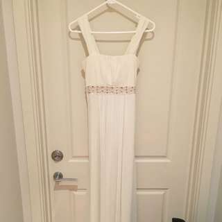 Full Length Ivory Gown with Embellished Waist Detail
