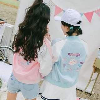 訂製款日系超可愛粉嫩色馬卡龍色貓咪刺繡緞面棒球外套夾克飛行外套ma1 Ma-1 風衣橫須賀