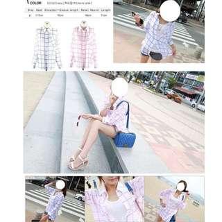 清透格紋襯衫