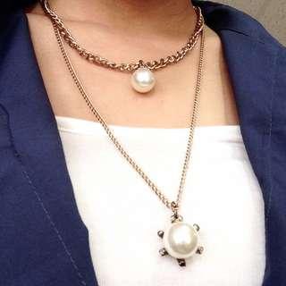 假兩條仿舊珍珠長鍊
