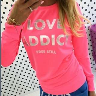 BNWT Neon PINK Long Sleeved Top Size 8-10!