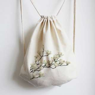 INSTOCK! Blooming Gardenia Flowers Drawstring Bag