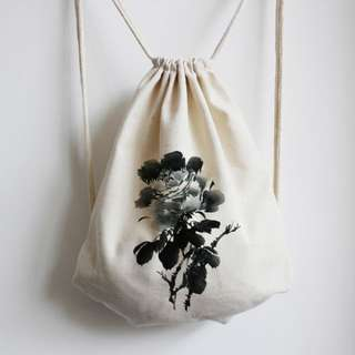 INSTOCK! Black Peony Calligraphy Drawstring Bag