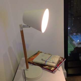 Lamp. White With Wooden Stand