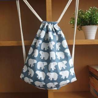 INSTOCK! Mr Polar Bear Drawstring Bag