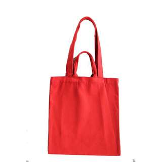 INSTOCK! Red Canvas Carry Tote Bag (with 2 handles)