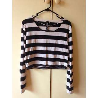 Black & White Striped Long Sleeve Crop