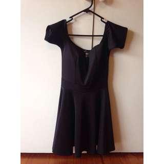 Black Off The Shoulder Skater Dress