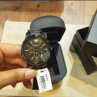 ✨客訂到貨實拍圖✨ ARMANI AR1451 三眼黑色陶瓷  錶帶中間霧面黑 質感棒 一年保固 終身保修