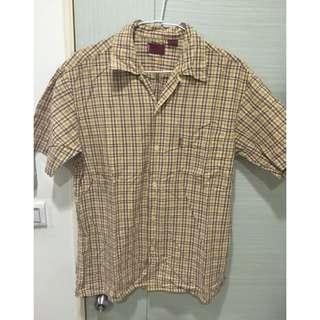 LEVI'S 黃色格紋短袖襯衫