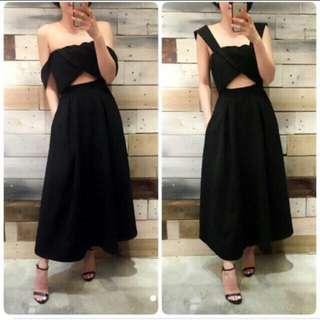 唯美黑色長版禮服