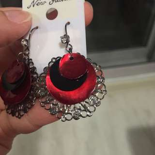 Red and black cut out earrings