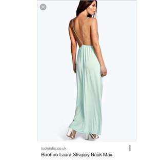 Boohoo Laura Strappy Back Maxi Dress in Mint