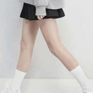 BLANC LABEL黑色箱型百褶裙
