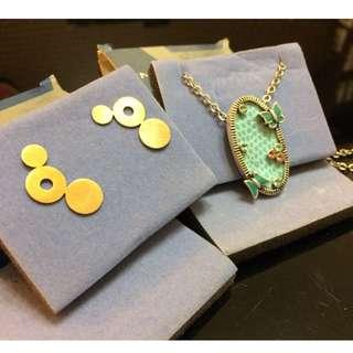 藍海蝴蝶結鍊,金色耳環