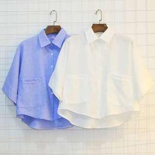 Blue Collar Shirt Crop Top