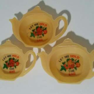 Made In Hong Kong Antique Tea Bag Holders X3