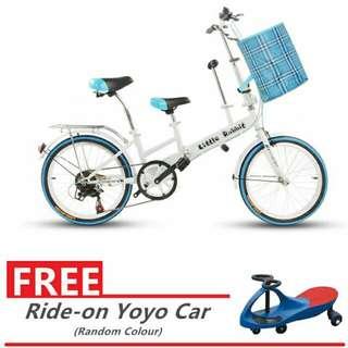 Mom and kid bicycle free ride on yoyo car