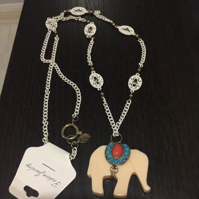 47cm Long white and nude elephant necklace