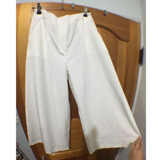 (全新)白色寬褲