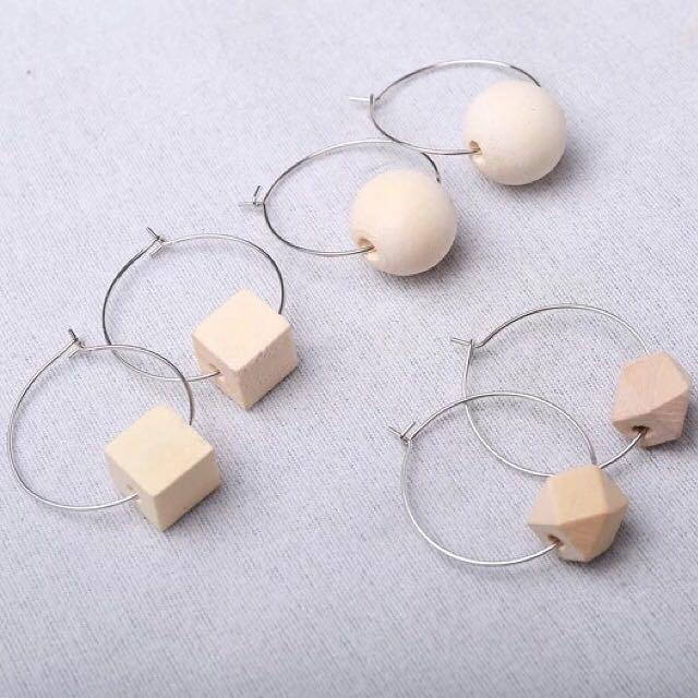 木質幾何圈圈耳環
