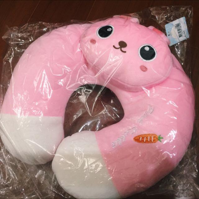 粉紅兔子頸枕