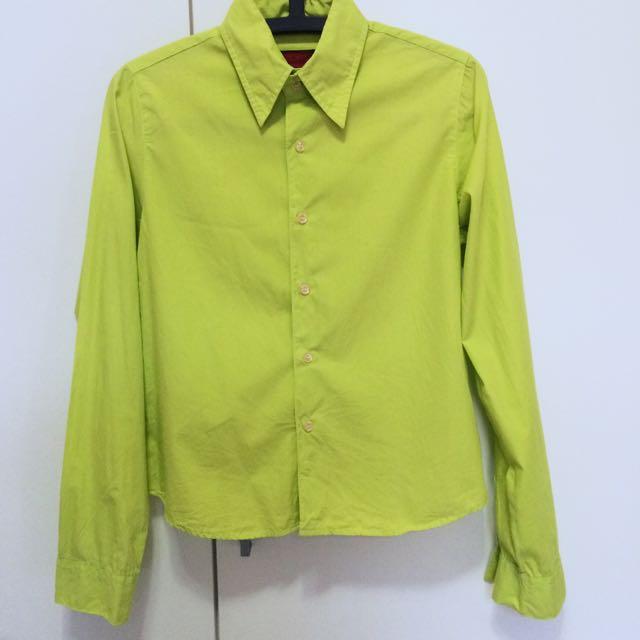 蘋果綠尖領襯衫