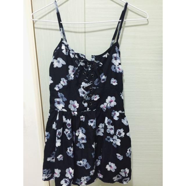 (全新)胸前綁帶印花連身洋裝 內襯有褲子防曝光