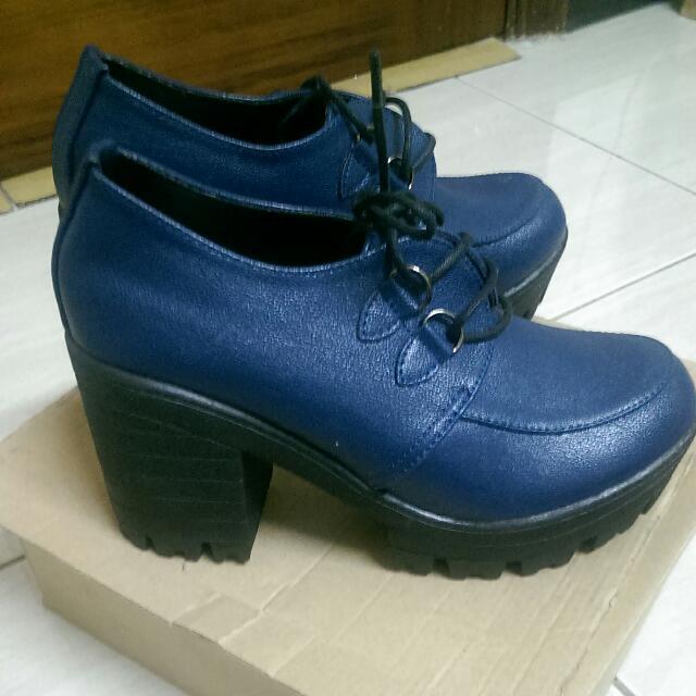 全新_厚底深藍鞋