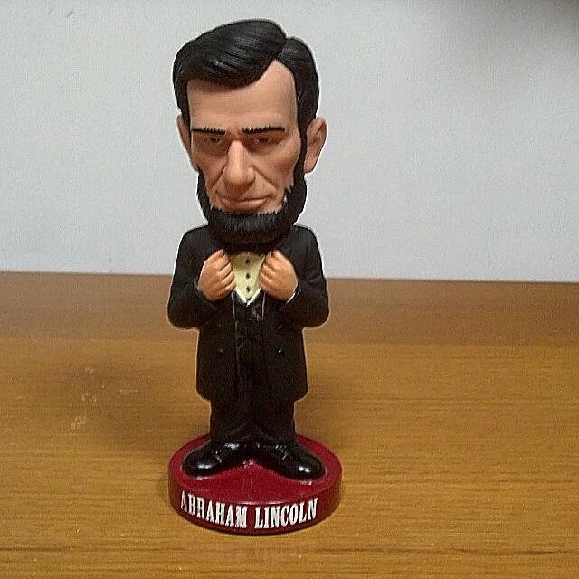 美國 總統 林肯 搖頭娃娃 公仔