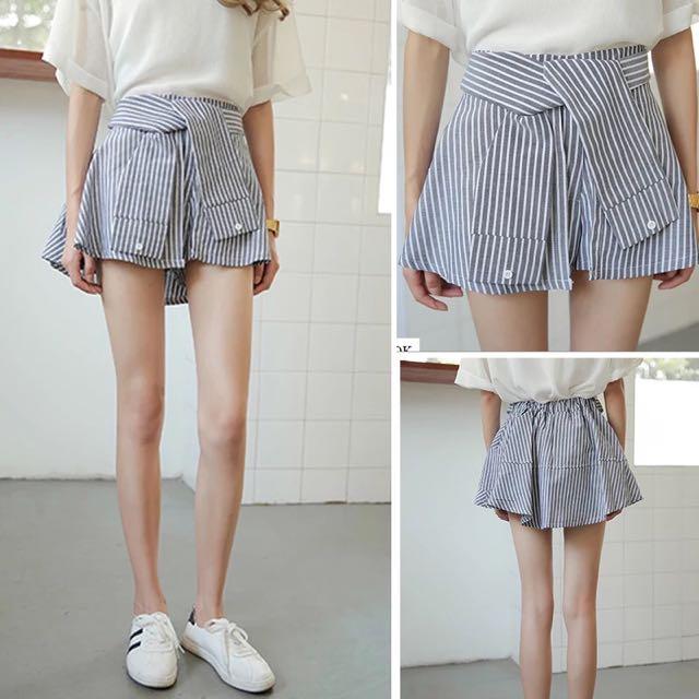 高腰條紋A字顯瘦短褲裙 夏季不規則半身褲裙 韓版百搭假兩件褲裙