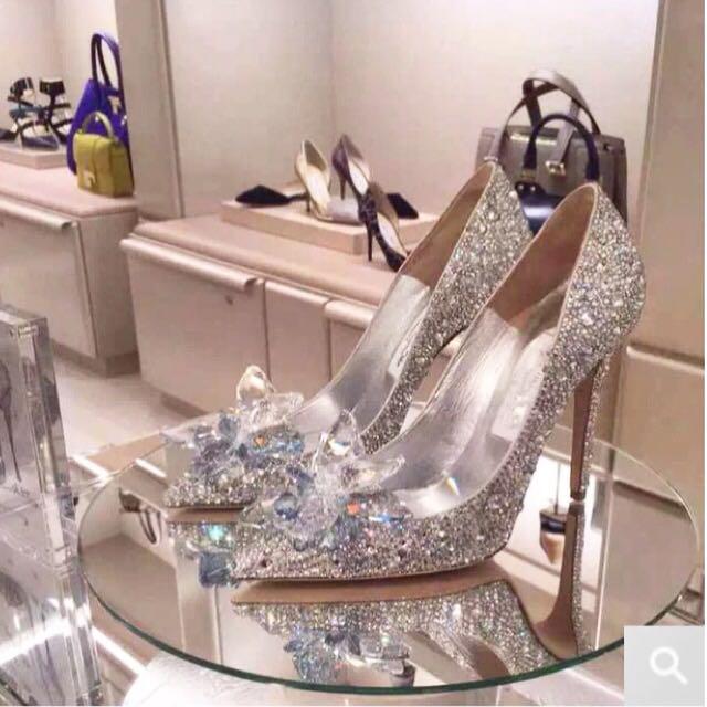 5837c055803 Angelababy Cinderella wedding silver heels