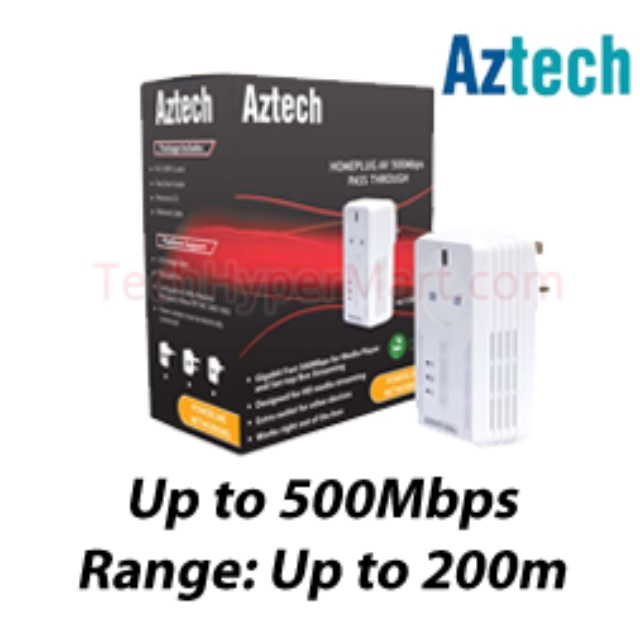 Aztech HL115EP HomePlug AV 500Mbps with AC Pass-Through x 2