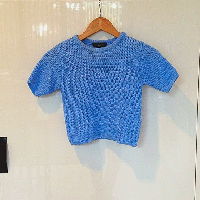Baby Blue Midriff Knit Tee