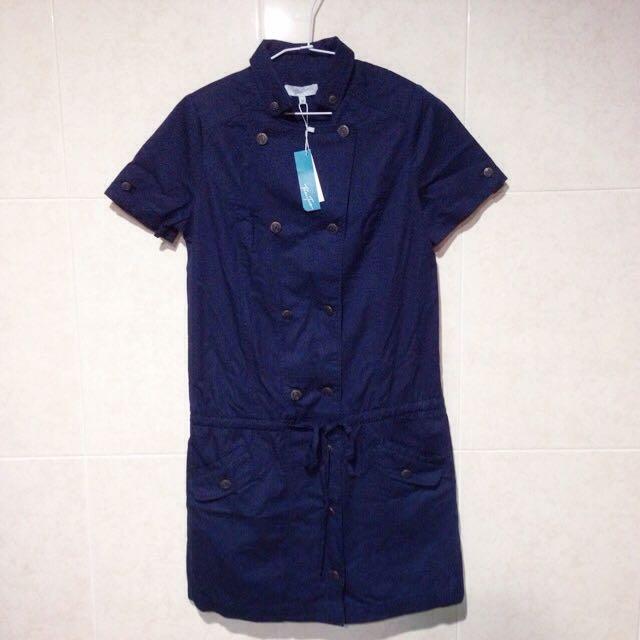 Bear Two  雙排扣收腰短袖洋裝 深藍 38號 專櫃正品