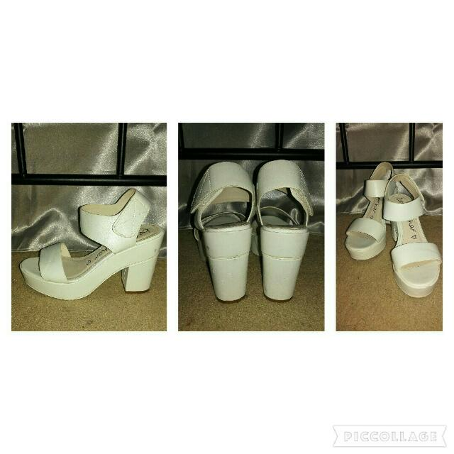 Betts White Velcro Heels